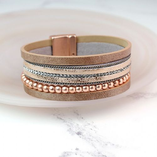 Leather bracelet - golden sparkle